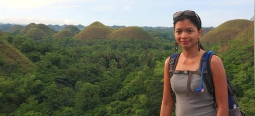 Claire with the view of the Chocolate Hills in Bohol