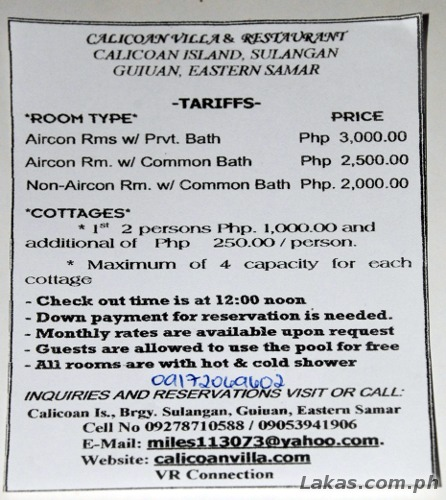 Calicoan Villa Resort & Restaurant Flyer