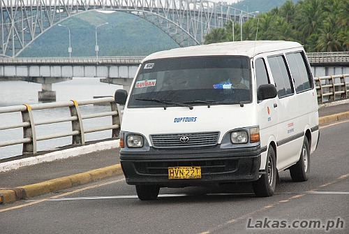 Van headed to Guiuan, Eastern Samar at San Juanico Bridge