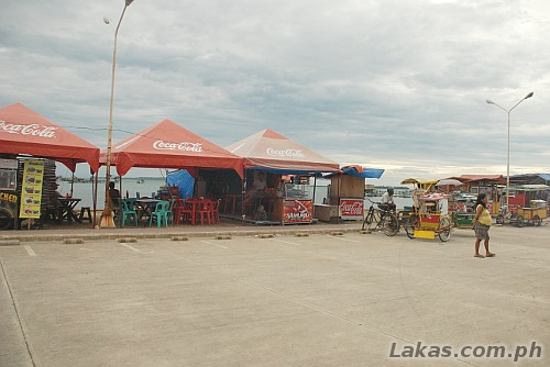 Food stalls beside the sea