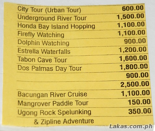 Standard Rates for Travel Agencies from the City Tourism Office of Puerto Princesa
