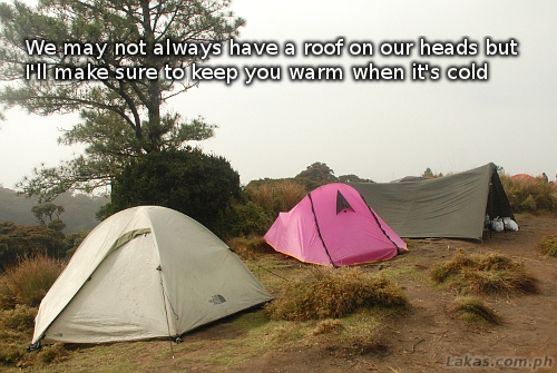 we may not always have a roof on our heads but I'll make sure to keep you warm when it's cold