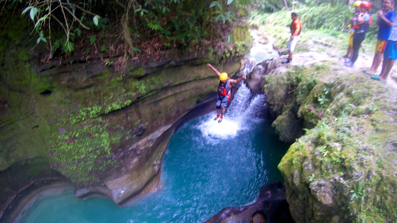 Firs jump at Cebu Canyoneering