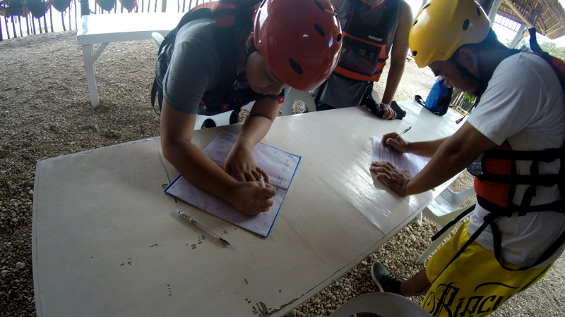 Waiver signing for Kawasan Canyoneering