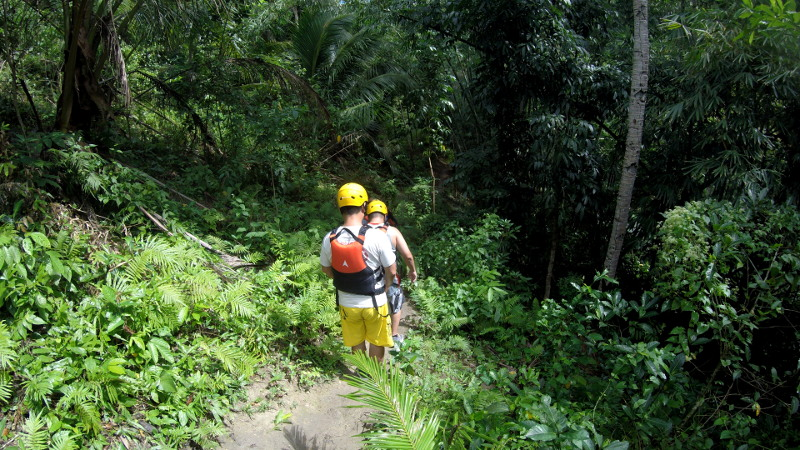 Walking down to the first jump of Cebu Canyoneering.