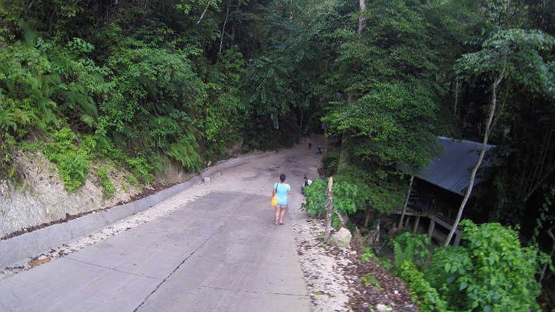 Hiking down to Tumalog Falls in Oslob, Cebu, Philippines