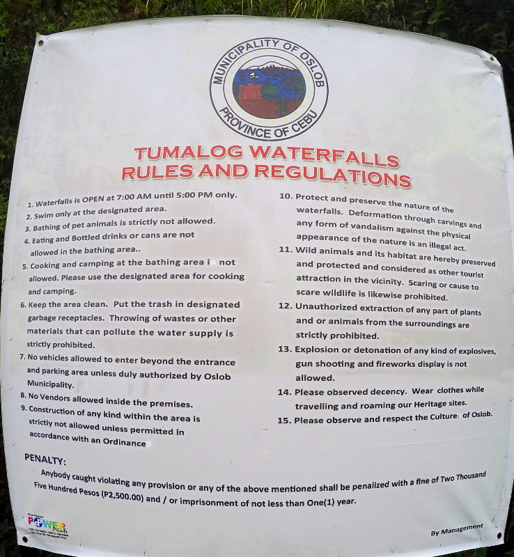 Rules and Regulations in Tumalog Falls in Oslob, Cebu, Philippines