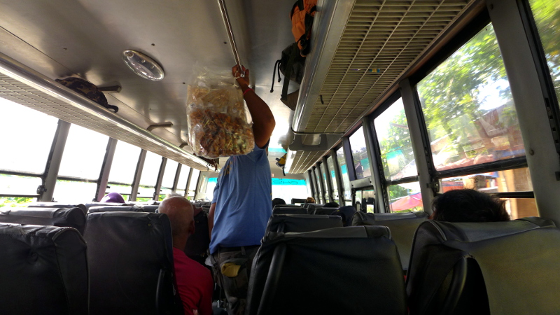 Chicharon Vendor inside the bus