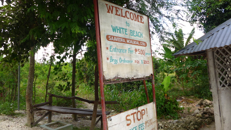 Entrance Fee to White Beach in Brgy. Saavedra in Moalboal, Cebu, Philippines