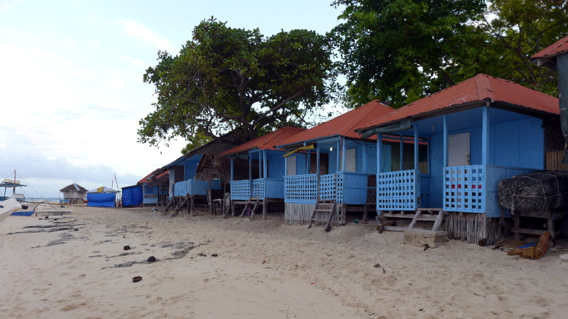 Cottages for rent along White Beach in Brgy. Saavedra, Moalboal, Cebu, Philippines