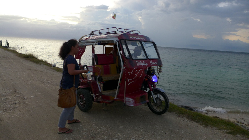 Tricycle back from Lambug Beach to Matutinao Beach Resort in Badian, Cebu, Philippines