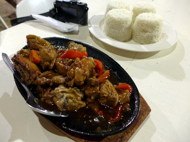 Sizzling Chicken for 200 Pesos/order good for 4 persons. Without rice.