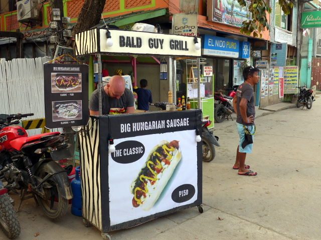 The Bald Guy, Big Hungarian Sausage Sandwich in El Nido, Palawan