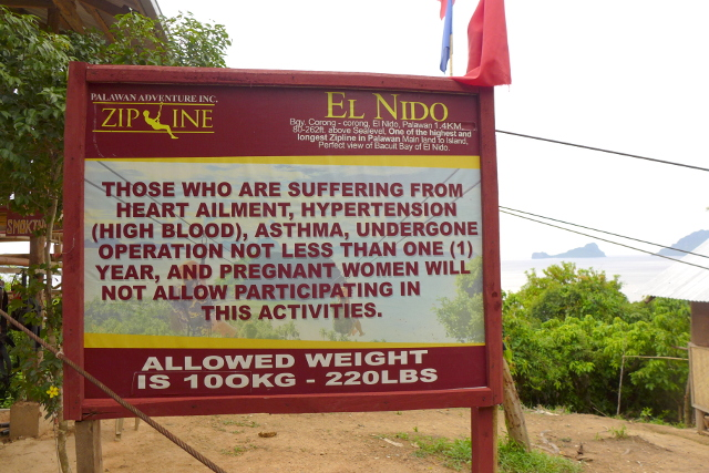 Weight and health requirement at El Nido Zipline in Maremegmeg Beach, Palawan, Philippines