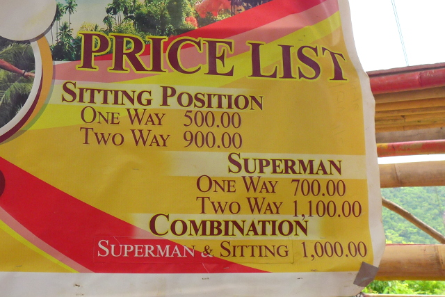 Price List at El Nido Zipline in Maremegmeg Beach, Palawan, Philippines