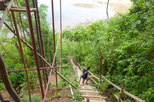 Stairway going down at El Nido Zipline at Maremegmeg Beach, Palawan, Philippines