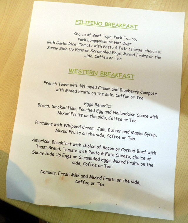 Plated Breakfast Menu
